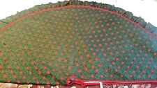Kurt S Adler Ny Christmas Tree Skirt Red Green Gold Ruffle 1993 Handcrafted