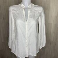 LAURA ASHLEY • White Gauzy Cotton Button Through Spot Blouse • Size 10