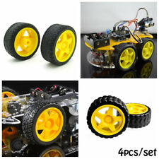 4pcs Smart Car Model Robot Plastic Yellow Tire Wheel  for Arduino 65x26mm 2017