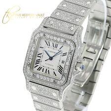 CARTIER Santos Galbée 2319  MIDSIZE Full Diamond Watch Auto *MINT