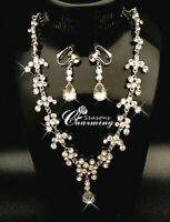 925 Silver Crystal Drop Wedding Prom Necklace & Clip On Earrings Jewellery Set