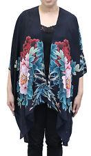 Pink Peony  Silk Long Kimono Jacket Oversized One Size Plus  NWT