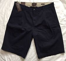 Black Brown 1826 Size 35 Mens Shorts Winter Navy Blue NWT $69 Pleated Front
