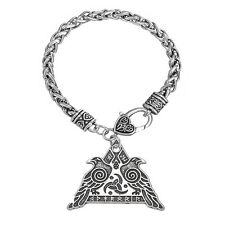 Valknut Raven Warrior Valkyrie Odin's Huginn and Muninn Viking Crow Bracelet Men