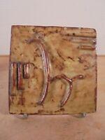 Céramique Vintage 50 Rare Carreau Bas relief Cheval Moderniste DLG Vallauris 1/2