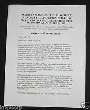 MARILYN MANSON 'VIDEO CHAT' 1998 PRESS RELEASE