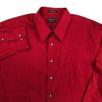 Arrow Dress Shirt Mens 18/2XL Red 36/37 Sleeve Regular Fit Wrinkle Free Poplin