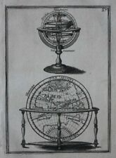 Original Antigua de impresión con esfera, mundo oriental Hemisferio, Mazo, 1683