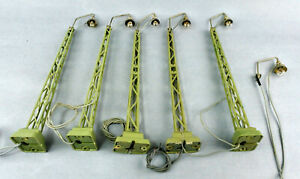 LOT OF 5 MARKLIN HO SCALE 448/3 STATION TRACK LIGHT W/ONE EXTRA METAL LAMP