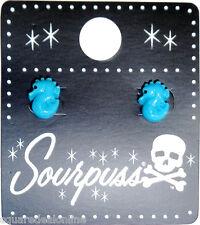 60106 Turquoise Blue Seahorse Charm Earrings Sourpuss Ocean Beach Sea Horse Cute