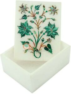 Dining Marble Table Top Malachite Inlay Floral Arts Christmas Gift Decor E2029