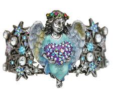 KIRKS FOLLY CELESTIAL ANGEL HEART CUFF BRACELET - silvertone