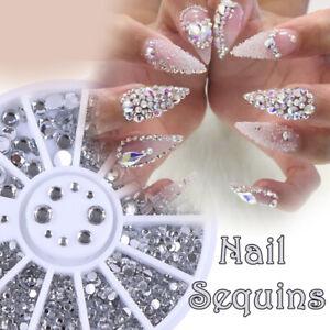 Mixed Diamond Nail Art Rhinestone Wheel Silver Women 3D Nail Decoration Sequins
