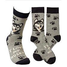 New Siberian Husky Dog Novelty Crew Socks Osfm/Unisex Lol Primitives By Kathy