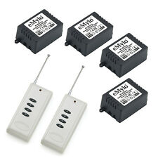 DC 12V 4X1CH 4 Relays Wireless RF Remote Control Light Switch 2Transmitter 100m