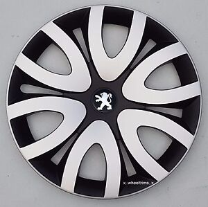 """Brand new black/silver 15"""" wheel trims to fit Peugeot 207 (Quantity 4 )"""