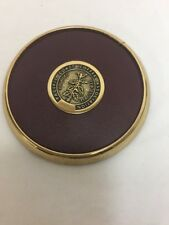 Pacific Coast Coffee Association Coaster Brass and Leather Vintage Advertising