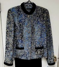 Jacquard Velvet Womens Jacket Blue Black Sz 10 New by TRIBAL