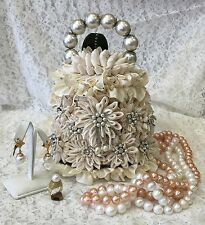 Lovely hard to find. WHITE DAME Mary Frances Bridal Bag featuring pearls/petals