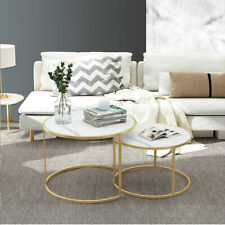 Faux Marble Effect Bedside Coffee Table Round Metal Frame MDF White Black 1&2 PC