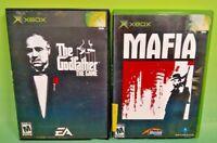 Mafia + Godfather - 2 Game Microsoft XBOX OG LOT EA Gangster Lot