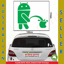 Android Pissing on Apple Vinyl Cut Decal