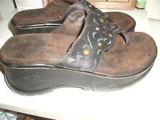 Roper Platform Wedge Thong Sandals in Dark Brown Leather - Sz 7