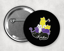 More details for cats they / them pronouns non binary badges 1 inch 25mm pin button badge
