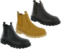 Grafters Dealer Safety Pull On Boots Ankle Steel Toe Twin Gusset Leather Pull On