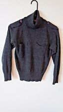 Laura Peterson Petites 100% Wool Gray Sweater Turtleneck Small Steampunk