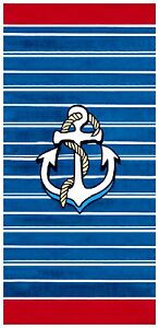"30""x60"" Anchor Stipes Blue/Red Beach Towel"