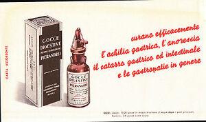 CARTA ASSORBENTE PUBBLICITARIA GOCCE DIGESTIVE PIERANDREI ROMA  21-34