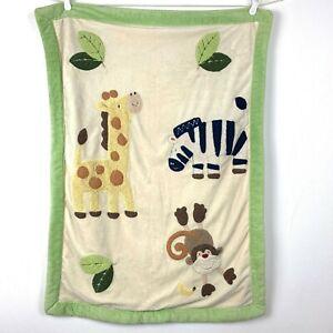 Just Born Cream Tan Baby Blanket Zebra Giraffe Monkey Yellow Sherpa Green Trim