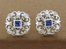 E075 Genuine 9K White Gold NATURAL Sapphire & Diamond Fleur-de-lis Stud Earrings