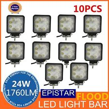 10PCS 24W LED WORK LIGHT BAR DRIVING FLOOD BEAM FOG UTE OFFROAD SUV 4WD 12V 24V