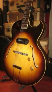 Vintage 1956 Gibson ES-225 Hollowbody Electric Guitar Sunburst P-90 w/ Hard Case
