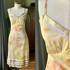 DYED PETALS Vintage Botanically Dyed Tie-Dyed Slip Dress XS/S 32