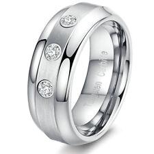 Mens Tungsten Bridal Ring Center Brush Silver Triple Carat CZ Stone Wedding Band