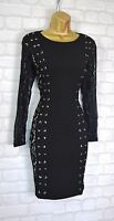 ~SHYA~ Black Lace Up Bodycon Evening Party Occasion Mini Dress 6 8 10 12 14