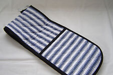 Double Oven Gloves.  Navy White Stripe with Neoprene Non Slip Heat Rsist Pads