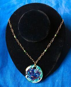 "Vintage 14k art glass necklace,,handmade,blues w/ gold,17"",pendant 2"";, Bolivia,"