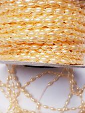Peach Rice Bead String Trim 3mm x 6mm size bead per 1m cut to order.