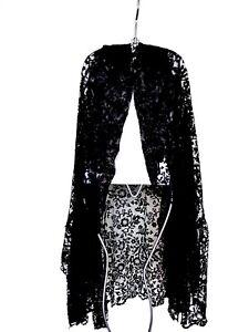 Black Lace Mantilla Long Floral Hooded Veil