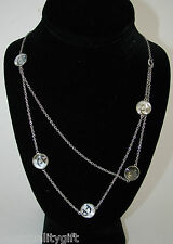 NEW-EMPORIO ARMANI S/STEEL+MOP LOGO DISC PENDANT MULTI-STRAND NECKLACE EGS1506