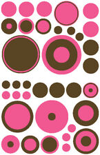 36 PINK & BROWN POLKA DOTS GIRLS  WALL DECALS STICKERS VINYL NURSERY TEEN