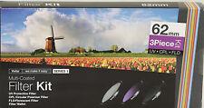 Vivitar 3 Piece Multi-Coated HD Pro Filter Set 62mm UV CPL FLD F Sony 18-200mm