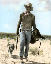 "JOHN WAYNE HONDO 1953 HOLLYWOOD ACTOR MOVIE STAR 11X14"" HAND COLOR TINTED PHOTO"