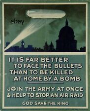 WW1 WARNING POSTER BRITISH ARMY ZEPPELIN AIR RAIDS NEW A4 PRINT LONDON  ST PAULS