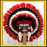 Genuine Native American Navajo Indian headdress 36 inch CHEROKEE Red Black White