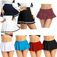 Ladies Skirts Womens High Waisted Belted Flared Plain Mini Skater Skirt Cosplay